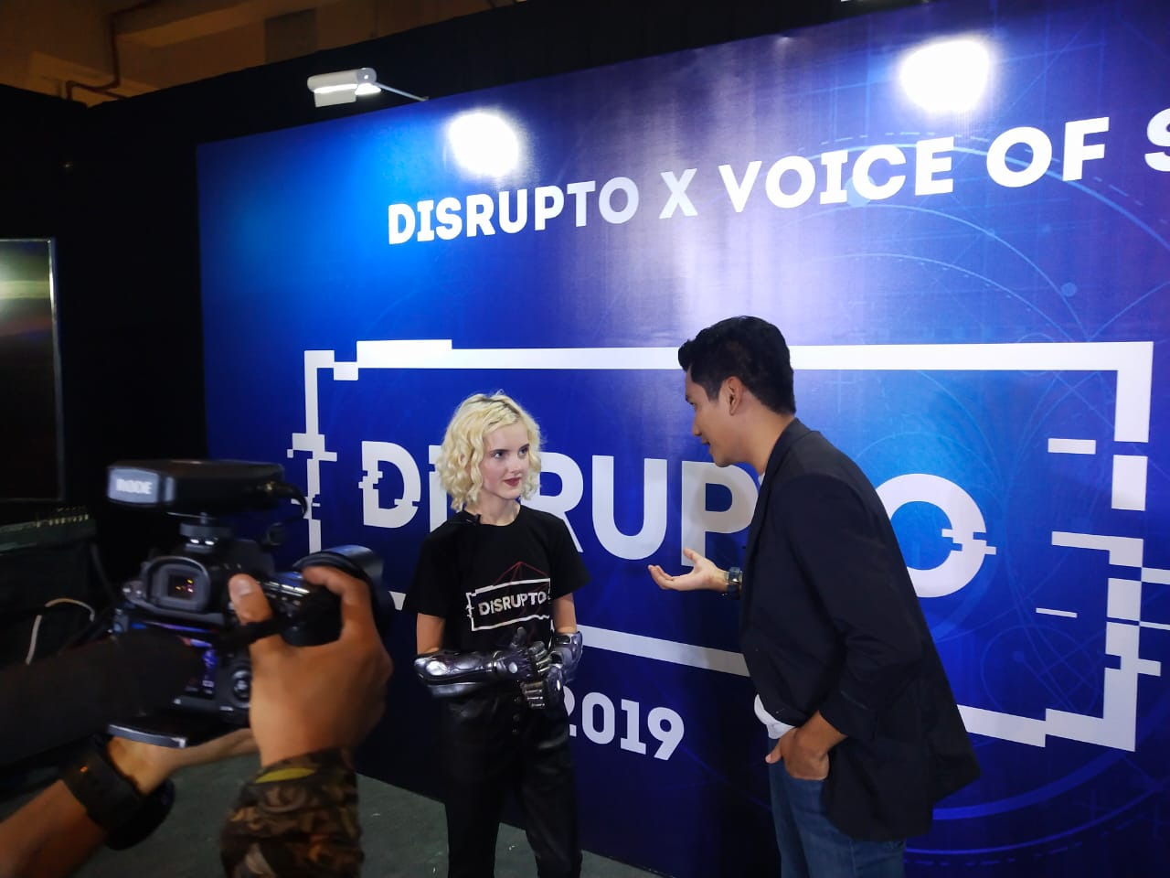 Tilly Lockey pada saat di interview oleh awak media di DISRUPTO 2019