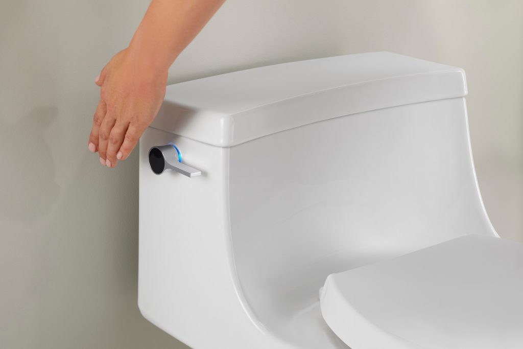 The new Touchless Toilet offers touchless flushing through the integration of a sensor placed in the flush lever of the toilet.