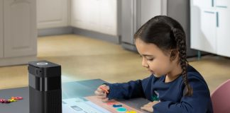 Hachi Infinite, the first-ever touchscreen projector and smart visual assistant that provides children and adults with intuitive user interactions and immersive experiences in learning, cooking, fitness and other settings.